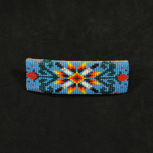 Blue Floral Beaded Barrette