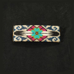 Blue Flower Beaded Barrette