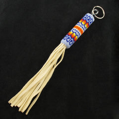 Corn Flower Blue Beaded Keychain