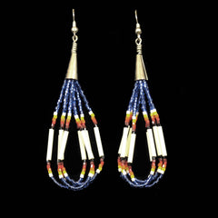 Blue Bugle Bead Dangle Earrings