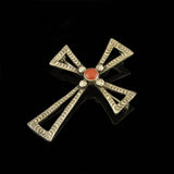 Coral Cross Pin Pendant
