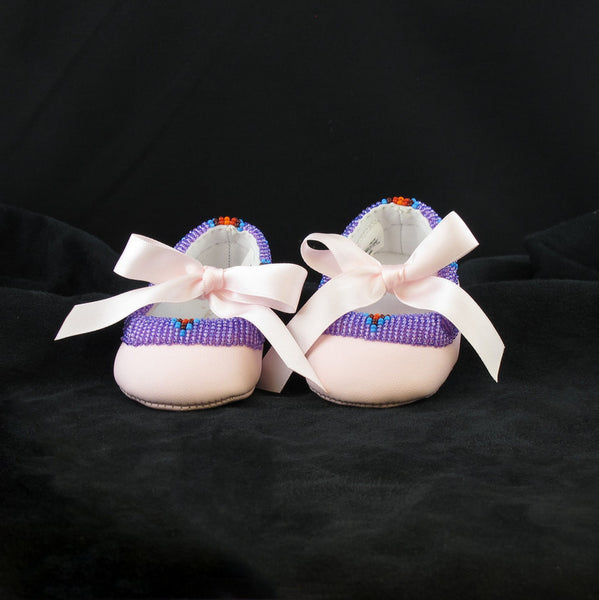 Pink Beaded Ballerina Slippers