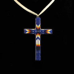 Blue Beaded Cross