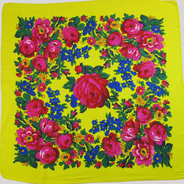 X-Large Rose Scarf Yellow 60