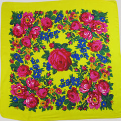 "Rose Scarf Yellow 30""x30"""