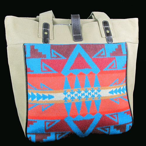 Pendleton Canvas & Wool Large Satchel - Red & Teal