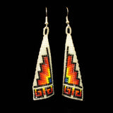 Pyramid Beaded Earrings - White