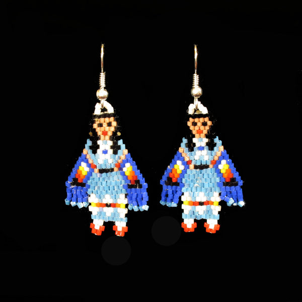 Blue Shawl Dancer Beaded Earrings