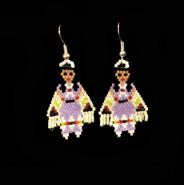 Lavender Shawl Dancer Beaded Earrings