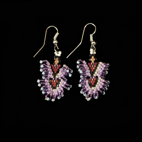Lavendar Dancing Lady Beaded Earrings
