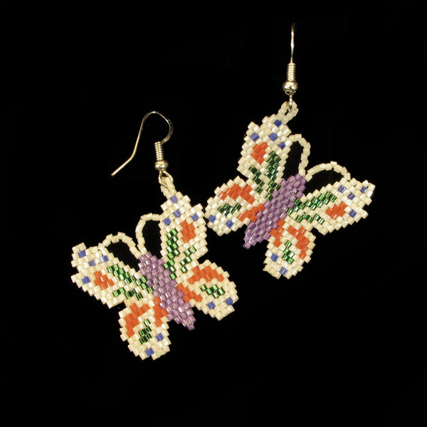 White Beaded Butterfly Earrings