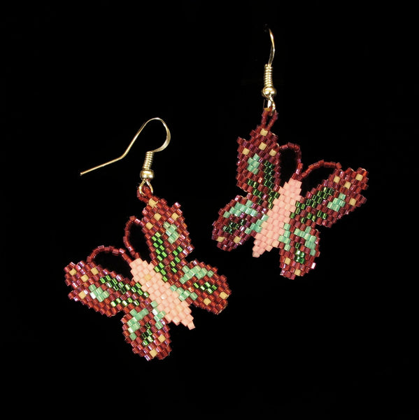 Iris Pink Beaded Butterfly Earrings