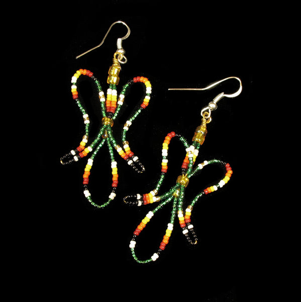 Green Water Bird Beaded Earrings