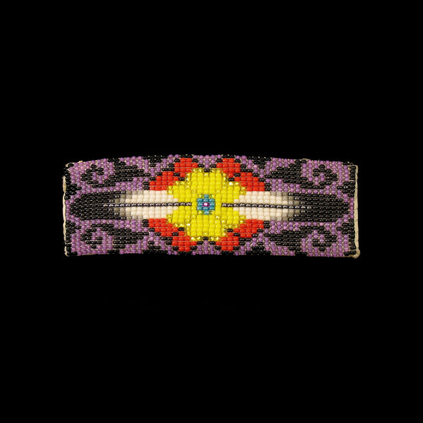 Purple Floral Beaded Barrette