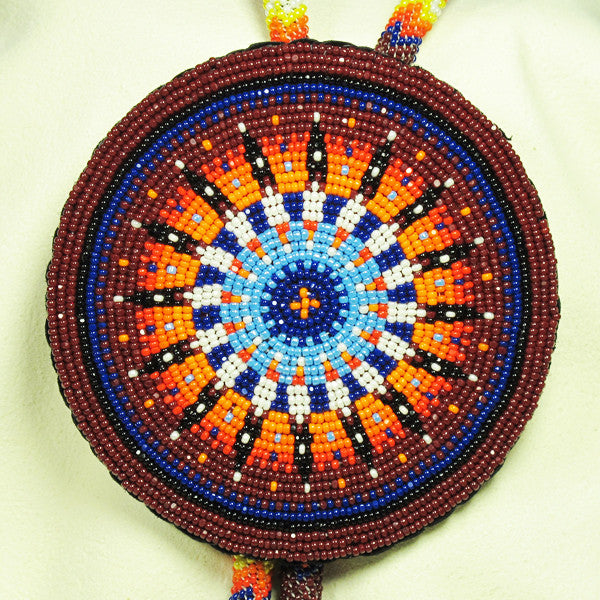 Maroon and Orange Fully Beaded Bolo Tie
