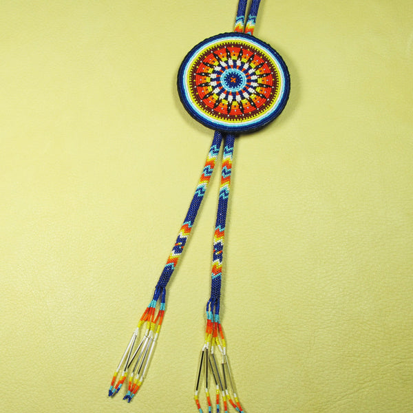 Navy and Yellow Fully Beaded Bolo Tie