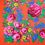 "Rose Scarf Neon Orange 30""x30"""