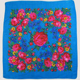 "X-Large Rose Scarf Turquoise 60""x60"""