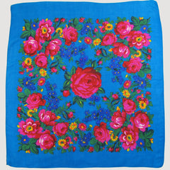 "Rose Scarf Turquoise 30""x30"""