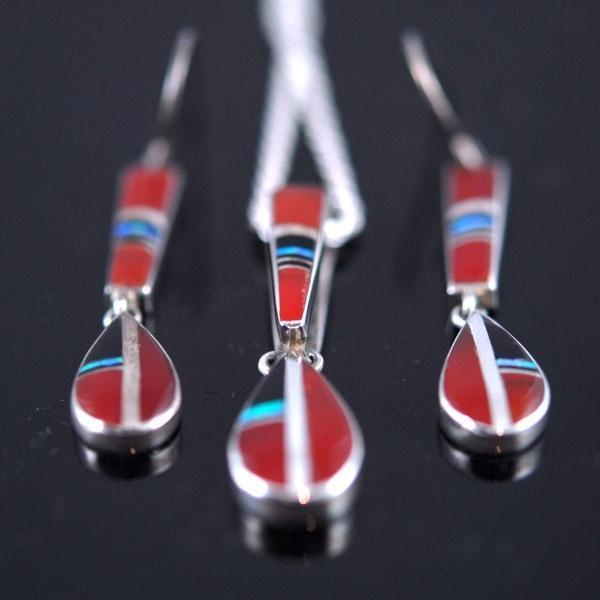 Carnelian Inlay Earring/Pendant Set