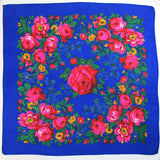 "Rose Scarf Royal Blue  30""x30"""