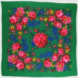 "X-Large Rose Scarf Green 60""x60"""