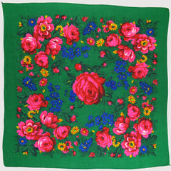 "Rose Scarf Green 30""x30"""