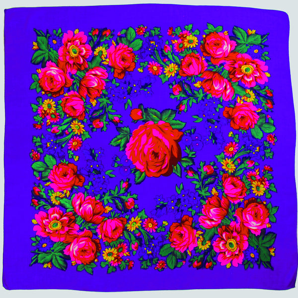"Rose Scarf Purple 30""x30"""