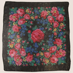 "Rose Metallic Scarf Black 30""x30"""