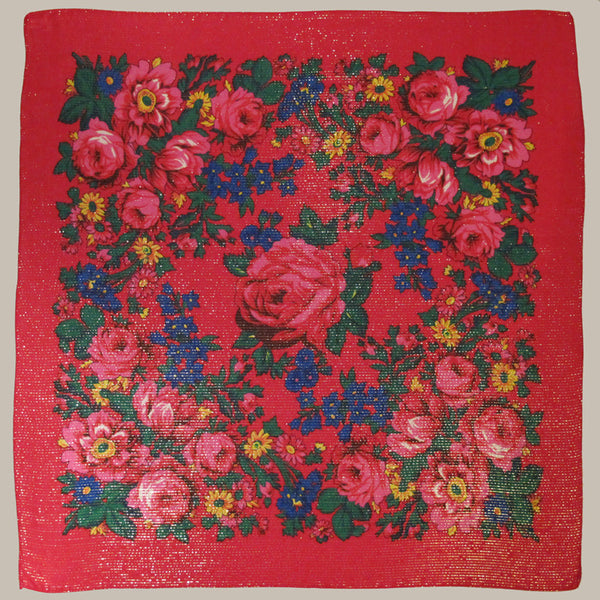Rose Metallic Scarf Red 30