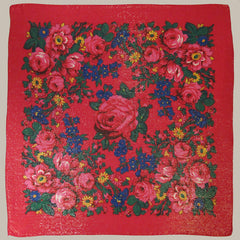 "Rose Metallic Scarf Red 30""x30"""