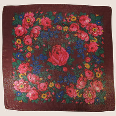 "Rose Metallic Scarf Wine 30""x30"""