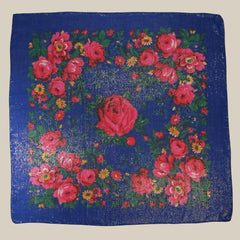 "Rose Metallic Scarf Royal Blue 30""x30"""