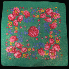 "Rose Metallic Scarf Green 30""x30"""