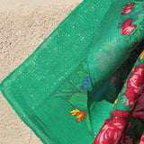 Big Rose Green Metallic Scarf