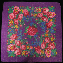 "Rose Metallic Scarf Purple 30""x30"""