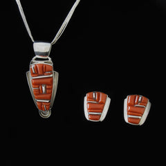 Coral Pendant Earring Set