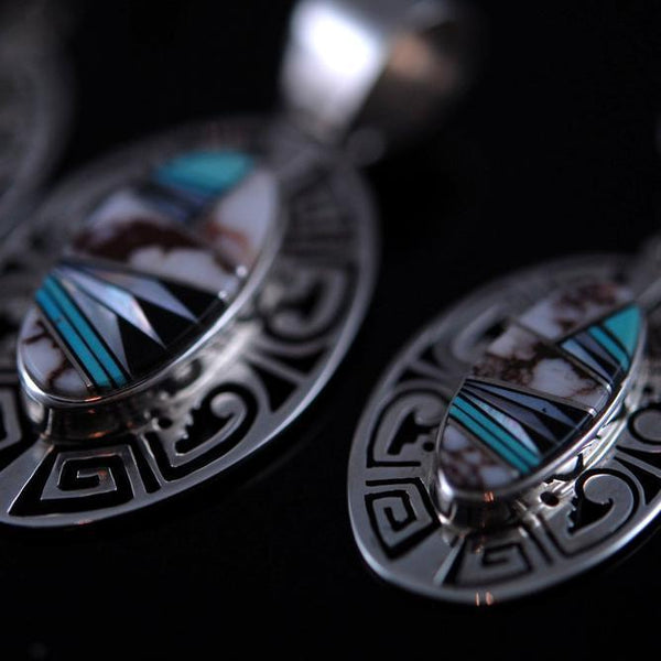 Wildhorse Inlay Navajo Earring and Pendent Set