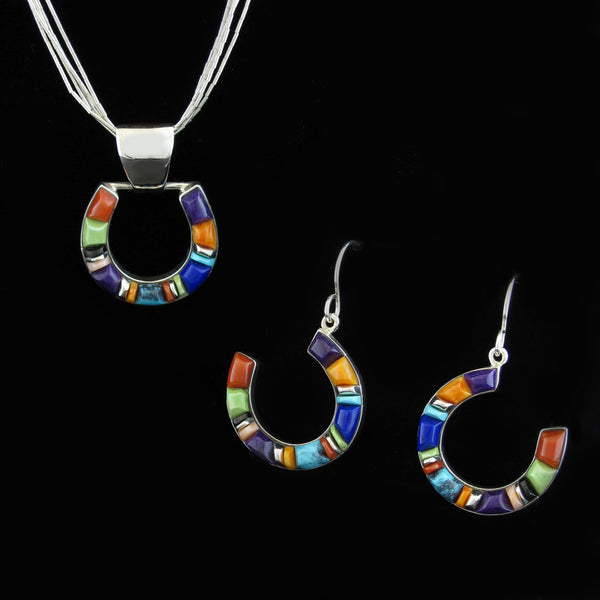 Horse Shoe Pendant Earring Set