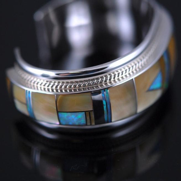 Gold Lip Mother of Pearl Inlay Navajo Bracelet