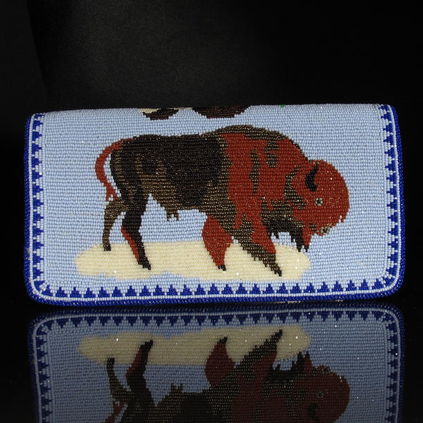 Buffalo/Ram Beaded Checkbook Cover