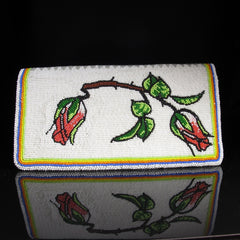 Beaded Rosebud Checkbook Cover