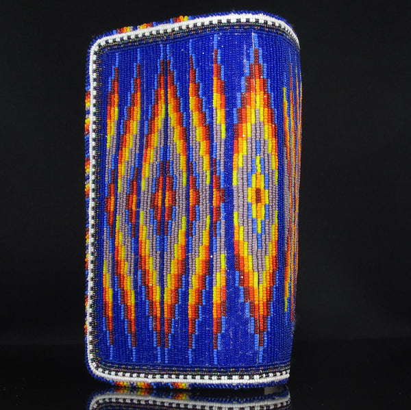 Beadwork: Blue Checkbook Cover