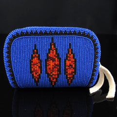 Blue and Red Geometric Beaded Coin Purse