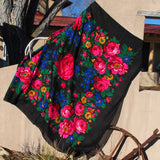 "X-Large Rose Scarf Black 60""x60"""