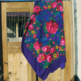 "X-Large Rose Scarf Royal Blue 60""x60"""