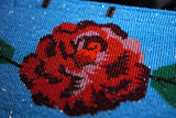 Blue Beaded Rose Belt