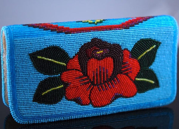 Beaded Reversible Rose Checkbook Cover