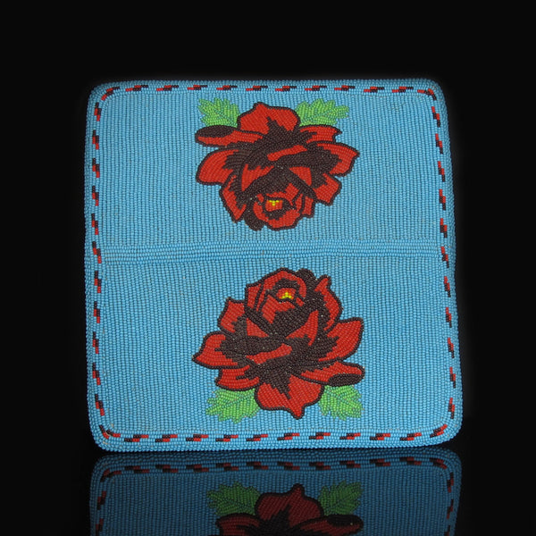 Native American Beaded Rose Checkbook Cover