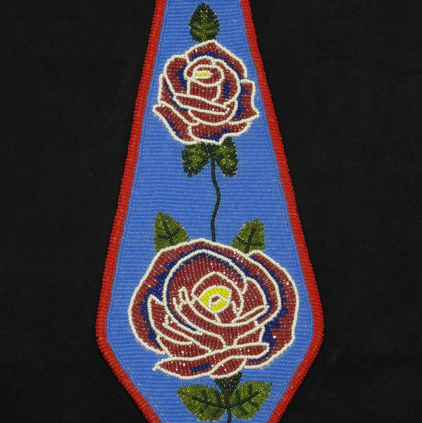 Rose Pattern Beaded Neck Tie